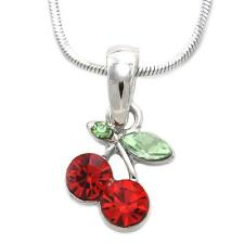 Small Red Cherry Fruit Green Leaf Chain Charm Pendant Necklace Jewelry n780