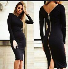 Sexy Slinky Black Body Con Zipper Dress Brand New in Package ... Size Small S