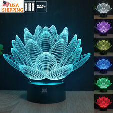 Pure Lotus 3D Acrylic LED Night light 7 Color Touch Table Desk Art Lamp Gifts