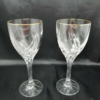 "Lenox Crystal ""Debut Gold"" Set of Two Water Goblets Gold Rim - 8-1/4"" NICE!"