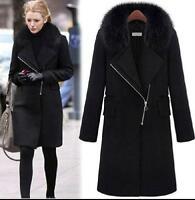 Women's Winter fur collar  wool  Jackets Coats Elegant Women Woolen Coat outwear