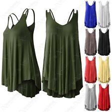 NEW LADIES BACK STRAP JERSEY VEST WOMENS SWING A-LINE LOOK SLEEVELESS VESTS TOP