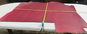"""RED """"PULL UP"""" LEATHER HIDE - 1.5mm THICK - 47"""" X 36"""" - OLD STOCK - CLEARANCE"""