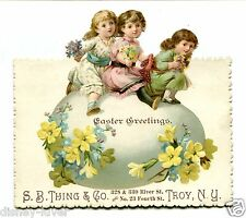 Victorian Trade Card SB THING & CO Troy NY Easter Greetings Giant Egg & Kids