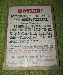 Vintage NOTICE Wooden Wall Plaque by YORKRAFT INC (Old-West)