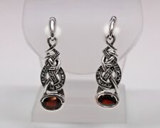 Celtic Know Sterling Silver Marcasite Earrings with Garnet Center Stones