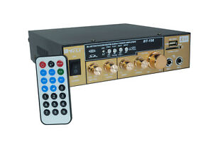 Amplificatore stereo bluetooth karaoke usb slot sd 2rca 2Jack mp3 fm 12V bt-158