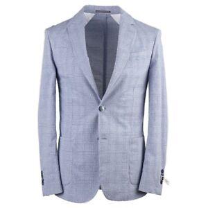 RODA Slim-Fit Sky Blue Check Lightweight Cotton Sport Coat 38 (Eu 48) NWT