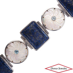 Estate Mother Pearl Lapis Lazuli Sterling Silver Fancy Bracelet 108.6 Grams NR