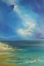 """NEW ORIGINAL ELIZABETH WILLIAMS """"A Bright Blessed Day"""" Spain Sea OIL PAINTING"""