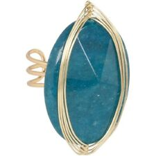 NEW Teal Green Dyed Quartzite Semiprecious Stone Boho Statement Cocktail Ring