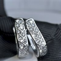 18k white gold gf made with SWAROVSKI crystal grid stud huggie earrings SMALL