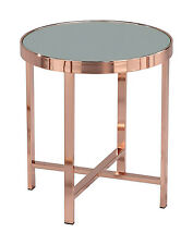 VASARI Mirrored/Glass Round Side/Coffee/End/Lamp Table(Copper/Mirror)-ST16MR