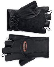 Harley Davidson Womens Willie G Fingerless Leather Motorcycle Gloves Sz M Medium