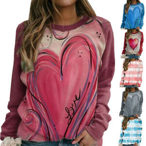 Womens Tee T Shirt Loose Holiday Basic Stripe Pullover Ladies Blouse Autumn Tops