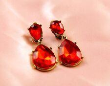Boucles d'Oreilles Clips Deux Gouttes Rouge Original Soirée Mariage Cadeau C5