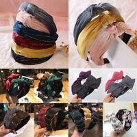 Women Headband Twist Hairband Bow Knot Cross Tie Wide Headwear Hair Bands Hoops