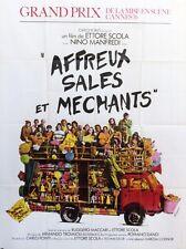 """""""AFFREUX SALES ET MECHANTS"""" Affiche originale (Ettore SCOLA / Nino MANFREDI)"""