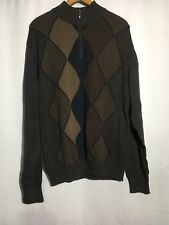 Alex Cannon Mens Long Sleeve Pullover Quarter Zip Sweater Brown Size Large