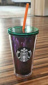 Starbucks Cold to go Becher Grün/Lila 16oz 473ml NEU Thermobecher Strohhalm