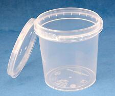 100 x 155ml PLASTICA TRASPARENTE prova di manomissione vasche/contenitori con coperchi