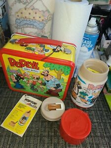 1980 POPEYE THE SAILOR Man LUNCHBOX WITH THERMOS FANTASTIC Condition