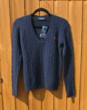 Ladies Ralph Lauren Jumper Kimberly Cable Knit V Neck Navy Small RRP £120 BNWTs