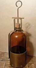 Industrial Gas / Crude Oil Field Testing Sample Brown Bottle & Brass Old