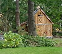 Two Backyard Mini-Barn Plans - Complete Pole-Barn Construction  Blueprints (B12)