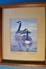 """M. Joyce Zeigler """"Here's Looking At You - Canada Geese"""" Signed and Framed Print"""