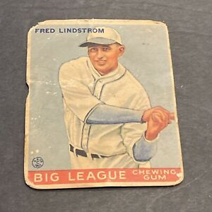 1933 GOUDEY BASEBALL #133 FRED LINDSTROM (HOF) PITTSBURGH PIRATES~FREE SHIPPING