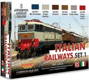 Lifecolor XS 13 Set 1 di 6 colori per realizzare le livree dei treni italini