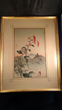 """Gesso """"Akebia With Bird"""" Wood BlockPrint Signed and Framed 1930's"""