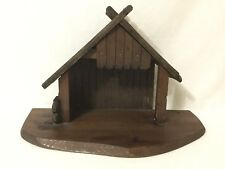 vintage table top Wood Nativity Manger Stable Handmade