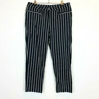 Portmans Womens Black/White Striped Crop Capri Pants Size 12 W32 L24