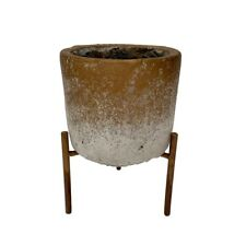 Rustic Two Tone Bronze Concrete Flower Plant Pot on Stand Boho Wedding Table