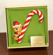 1979 A CHRISTMAS TREAT TEDDY BEAR CANDY CANE HALLMARK CHRISTMAS ORNAMENT MIB