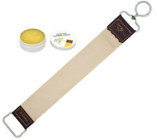 LEATHER STROP STRAP SHARPENING BELT FOR RAZORS WITH HONING BALM PASTE BUNDLE