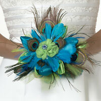 Colorful Peacock Feather Wedding Bouquet
