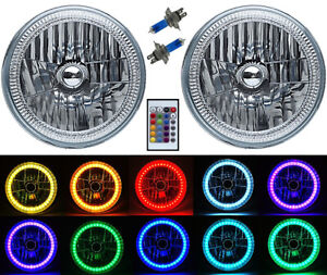 "7"" RGB SMD Multi-Color White Red Blue Green LED Halo Angel Eye Headlights Pair"