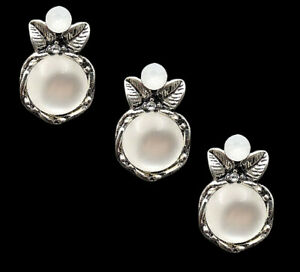 5 Pieces Ancient Silver Alloy Opal Crystal Flowers Flatback Buttons Decorations