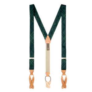Green Plaid Silk Suspenders - Button