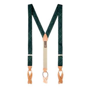 Green Plaid Silk Suspenders - Button