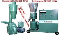 Pelletpresse PP230C 11KW & Hammermühle HM420B 11KW Holz & Tier Pellet Set