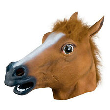Adult Party Costume Horse head latex rubber Mask Prop Novety Creepy Funny