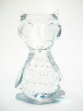 ABBOTT - Vintage Studio Glass Owl & Bubble Paperweight - Canada - 20th Century