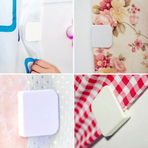 2Pcs Plastic Shower Curtain Clips Holder Self-adhesive Home Bathroom Supplies