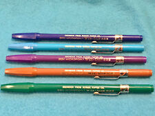 5 VINTAGE MICROPOINT WIK STIK 939 MARKERS - 5 COLORS - SOME INK - COLLECTORS