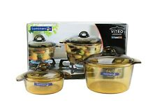 Luminarc Vitro Blooming Glass Cooking Pot Set (3L+1L), Made in France
