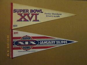 NFL Super Bowl Vintage 1982 XVI & 1985 XIX Logo Football Pennants
